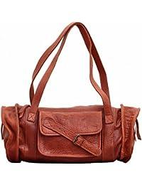 MARIE Naturel sac à main en cuir forme polochon style vintage PAUL MARIUS