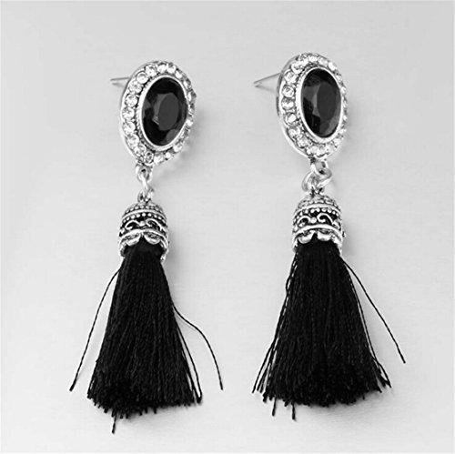 Rapidly ® Women Earring Leisure Long Tassel Alloy Mosaic Earrings Stud Dangle Drop (Black)