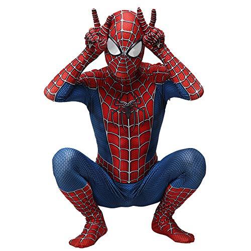 Superhelden Kostüm Hunde Großer - SDFXCV Jungen Superheld Tony Spiderman Kostüme Unisex Erwachsene Kinder Spiderman Peter Park Overall Body Lycra Spandex Zentai Halloween Kostüm,Kids-L(Height51-54Inch)