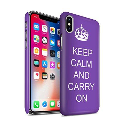 STUFF4 Matte Snap-On Hülle / Case für Apple iPhone X/10 / Schnurrbart/Braun Muster / Bleib Ruhig Kollektion Mach Weiter/Lila
