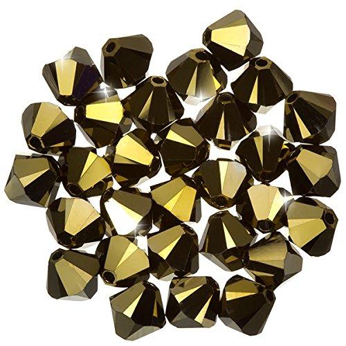 Swarovski Xilion Bicone (001) Crystal Dorado 2x Perlen 6mm PK30 - Crystal 6mm Bicone Swarovski
