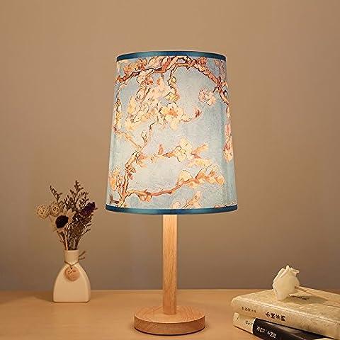 XHOPOS HOME Tischleuchte Tischlampe Nachttischlampe minimalistischen modernen Schlafzimmer Stempel Holz
