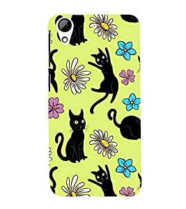 PrintVisa Designer Back Case Cover for HTC Desire 628 :: HTC Desire 628 Dual Sim (Black Cat Design :: Floral Design :: Colored Flowers Design :: Cartoon Cat design :: Nice Colored Designer wallpaper)