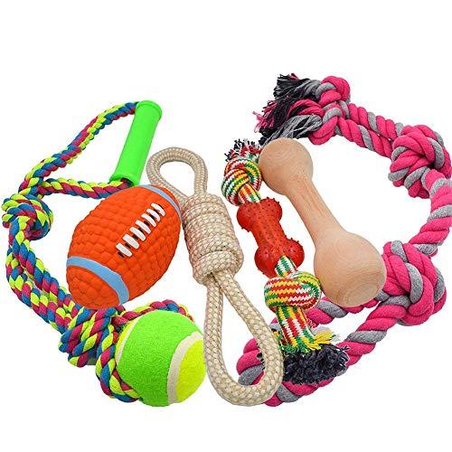 Medium Large Hund Seil Spielzeug 6Pack Set, 4stabile Seil Spielzeug mit Ball und Griff für Tauziehen & 1Holz Hund Knochen & 1Quietschender Football, Sortiment für große Rassen und Big Welpen