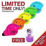 Fullmark Rodillo permanente del pegamento / del pegamento, 6mm x 18m, Colores surtidos, 5-pack + 1 gratis Modelo de cinta de corrección