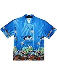 KY´s| Chemise Hawaïenne D'Origine | Pour Hommes | S - 8XL | Manche Courte | Poche Avant | Hawaiian-Imprimer | Tortue récif de corail