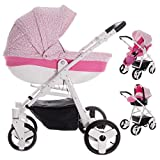 Friedrich Hugo Easy Comfort | 3 in 1 passeggino con carrozzina modulari combinabili set completo | Colore: Rose & Leo Fabric