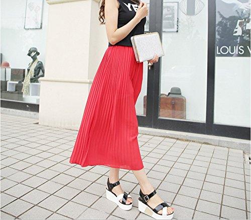 Smile YKK Pantalon Jupe Femme Mousseline de Soie Jambe Large Plage Mode Rouge