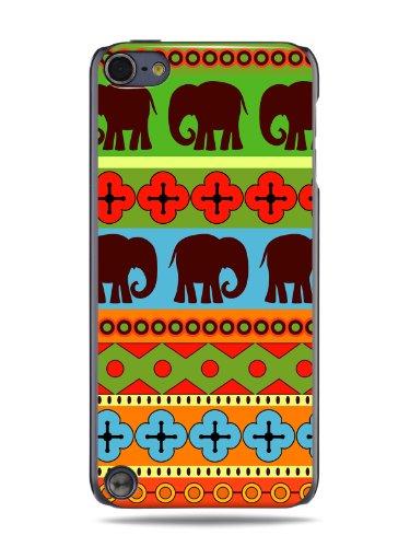 """GRÜV Premium Case - Design """"Afrikanische Elefanten, Tribalkunst"""" - Qualitativ Hochwertiger Druck Schwarze Hülle - für Apple iPod Touch 5 5G"""