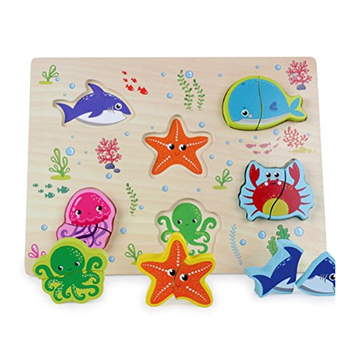 TOYMYTOY Wooden Chunky Puzzle Ocean Animal Jigsaw Puzzles Educational Puzzle Toys for Baby Toddler