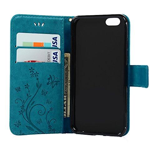 Handyhülle iPhone 6 Mavis's Diary iPhone 6 6s(4,7 Zoll) Grau Drucken(Schmetterling Weinstock)PU Ledercase Tasche Hüllen Schutzhülle Scratch Magnetverschluss Telefon-Kasten Klapphülle Standfunktion Han Blau