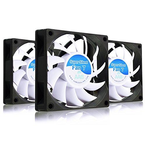 AAB Cooling Super Silent Fan 7 - Leise und Efizient 70mm Gehäuselüfter mit 4 Anti-Vibration-Pads - Silent Lüfter, 3D Drucker, PC Ventilator, Leise Fan - Wertpaket 3 Stück