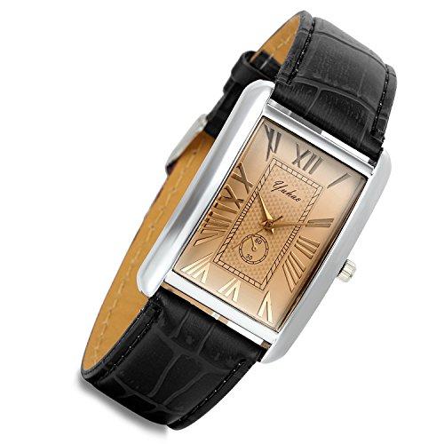 LANCARDO Herren Herren Damen Leder Armbanduhr Analog mit Leder Armband LCD009P089 - Ton Dim