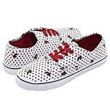 Disney Minnie Mouse White Black Polka Dot Print Red/Gold Sparkly Lace up Fashion Sneaker White 10