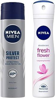 NIVEA MEN Deodorant, Silver Protect Antibacterial, 150ml & Deodorant, Fresh Flower, 150ml Combo