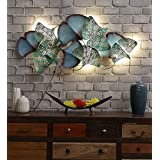 Mahalaxmi Art Handcrafted Iron Wall Hanging Iron Metal Leaves LED Panel (22.5X2X45 in)