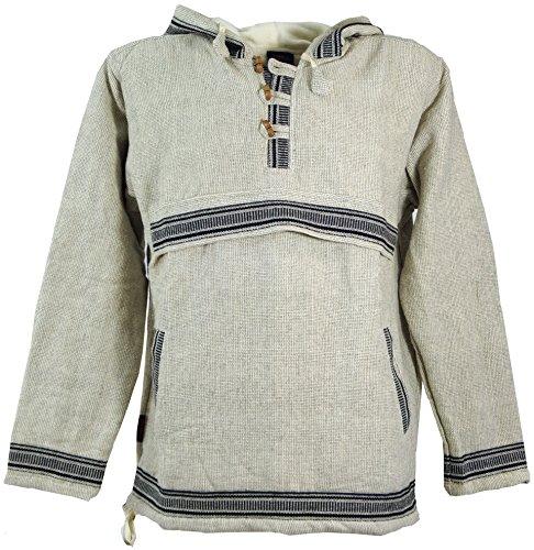 Guru-Shop Goa Kapuzenshirt, Baja Hoody - Leinenfarben, Herren, Weiß, Size:M, Sweatshirts & Hoodies Alternative Bekleidung - Baja Pullover Hoodies
