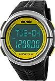 Herren Frauen Herzfrequenz Monitor Schrittzähler Digital Sport Uhren 50m Wasserdicht Gelb