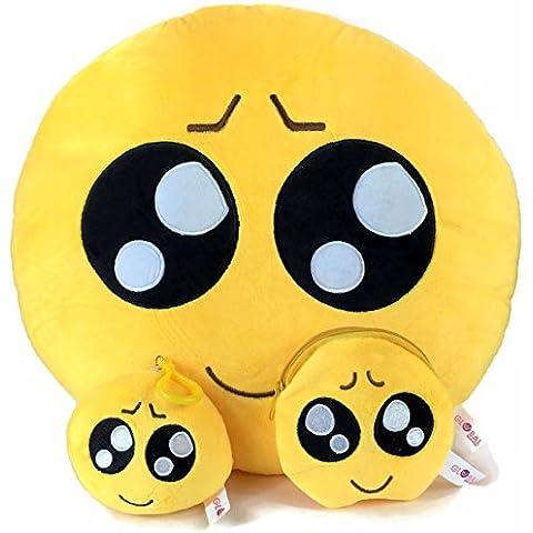 Cuscino Rotondo Emoji con portachiavi e morbido denaro Portafoglio Portamonete–Set (–)