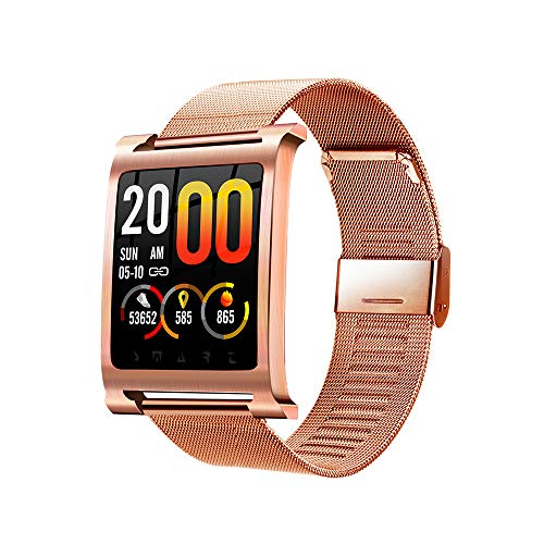 Happy-day Herren-Smartwatch, Farbdisplay, Blutdruck, Blutsauerstoff, Fitness-Tracker, Kalorienzähler, GPS-Routen-Tracker. S Rose Gold (Michael Kors Rose Gold Herren Uhr)