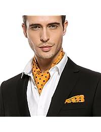 Prettystern - Herren Krawattenschal + Einstecktuch Ascot set edel Seide Business - viele Motive