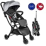 Besrey Lightweight Stroller Compact Pushchair Stroller Foldable Travel Buggy with Reclining Backrest