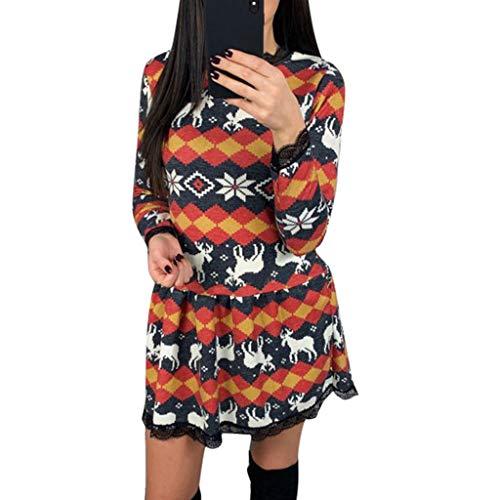 Laile Robe Soirée Jupe de Noël Robe Chic Robe Imprimée Bonhomme de Neige Ballon de Noël Robe Vintage Femme Années Robes de Plage pour Femme