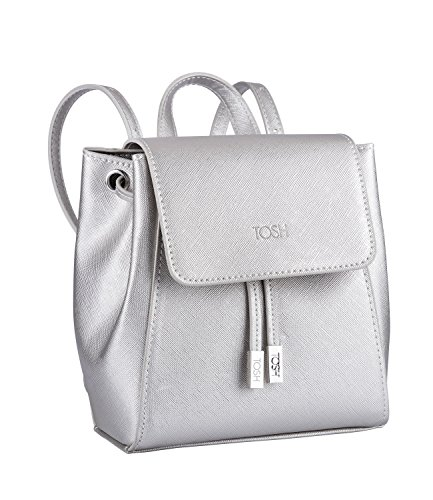 TOSH Tasche - Damen Rucksack, City Backpack, klein, Magnetverschluss, Reißverschluss, verstellbare Schulterriemen, Metallic, Silber (734-123)