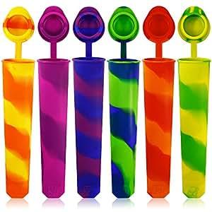 Silicone ghiaccio pop stampi set di 6, Maxin muffa colorata arcobaleno ghiaccio turbinio stampo Ice Maker con coperchi allegati. (inoltre colore)