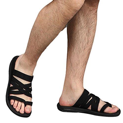 Haodasi Unisex Strandschuhe Slip On Schuhe Atmungsaktiv Rutschfest Sandalen Wohnungen Hausschuhe Weich Schwarz