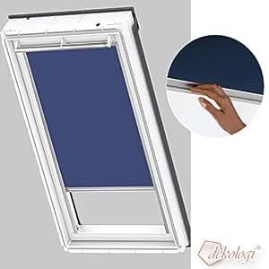 Velux store d'obscurcissement en tissu pour fenêtres gL/gPL/gHL/gTL/gGU/gPU/gHU/gTU sK06 tissu premium 2055/bleu/argent, d'obscurcissement dKL sK06 2055S