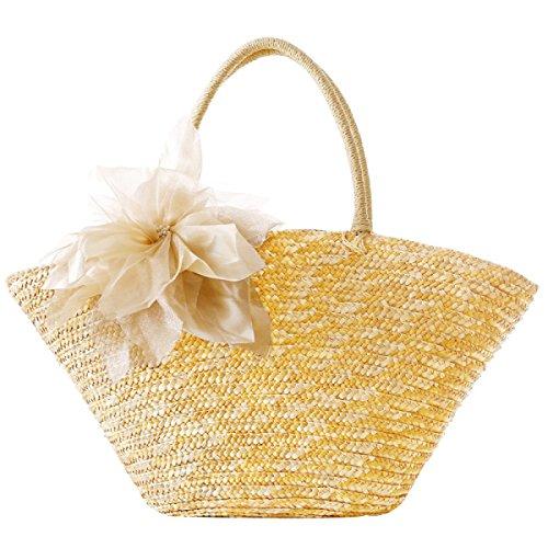 Frauen Reise-Urlaub Stroh-Handumhängetasche Pastoral Silk Fashion-Strand-Tasche Beige