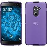 PhoneNatic Case für BlackBerry DTEK60 Hülle Silikon lila transparent Cover DTEK60 Tasche + 2 Schutzfolien