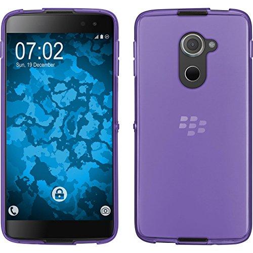 PhoneNatic Case für BlackBerry DTEK60 Hülle Silikon lila, transparent + 2 Schutzfolien