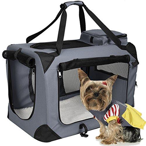 Hundetransportbox faltbar Hundebox Transportbox Autobox Transporthütte Transporttasche Polyester(Grau, XL)