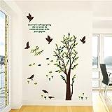 Bomeautify Wandtattoos Wandbilder Entfernbarer Aufkleber-Herbst-Baum-Vogel-Wohnzimmer-Schlafzimmer-Hintergrund-Zeichnungs-Karikatur-grüne kreative Persönlichkeit, 60 * 90CM