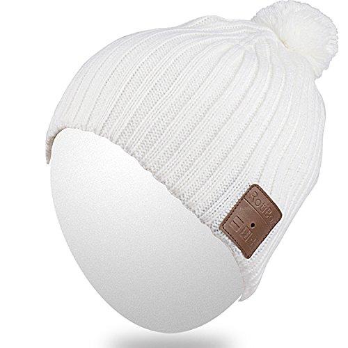 Qshell Unisex Adult Bluetooth Strickmütze Trendy weiche warme Kurze Audio-Musik-Kappe mit Drahtloser Kopfhörer Ohrhörer Lautsprecher Mic freihändig, Winter Outdoor Sport Ski Snowboard - Weiß