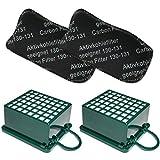 TOP SET - Filterset 2 (Geruchsfilter / Aktiv - Kohlefilter / AGF Filter) + 2 (HEPA (Mikro) Filter / Mikrofilter / Hepafilter) geeignet Für Vorwerk Kobold VK 130 131 SC, VK130, VK131