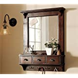 SSE Handicraft Dressing Mirror With 3 Storage Drawers & Shelf, Wall Mirror