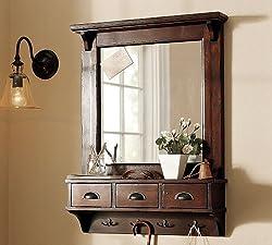 LifeEstyle Dressing Mirror with hooks and 3 storage drawers , bathroom shelf,Dark Walnut