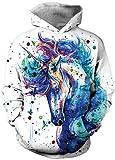 EUDOLAH Mädchen 3D Druck Sweatshirts für 4-13 Alter Langarm Herbst Winter Mehrfarbig Bunt Hemd mit Kaputzen Warm Buntes Pferd XS