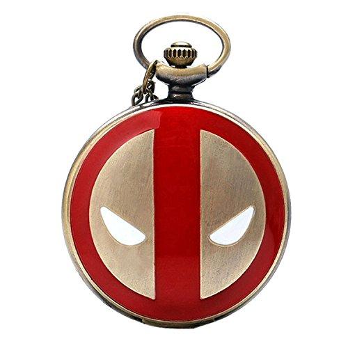 Deadpool rot & gold finish Fall Herren Quarz-Taschenuhr Halskette-auf 81,3cm Zoll/80cm Kette -