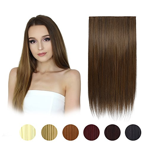 Extensiones FESHFEN de pelo sintético liso en una pieza de 61 cm de largo, 5 clips cabeza completa, postizo para mujer de 115 g