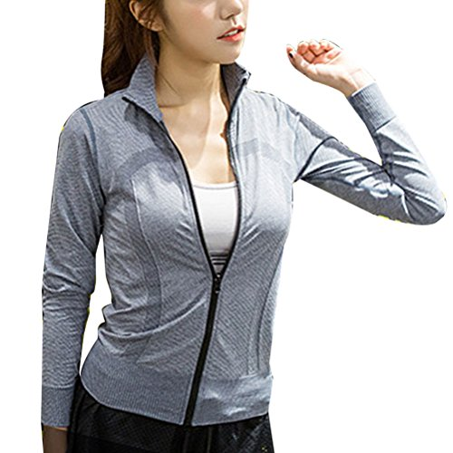 Zhhlaixing Women's Quick Dry Long Sleeve Zip Outwear Casual Yoga Sport Tops WT11 gray