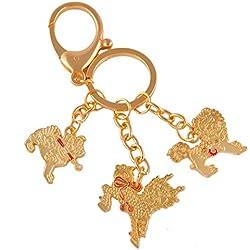 Feng Shui tres guardianes celeste con espada, lazo, gancho de llavero W libre Mxsabrina rojo pulsera de cadena W1131