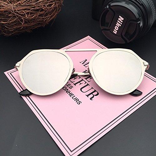 LXKMTYJ Wild Metalloberfläche ist farbenfroh und stilvoll retro - Great Circle Sonnenbrillen Sonnenbrillen Persönlichkeit minimalistischen Brillen, Silber Silber, Quecksilber Chip