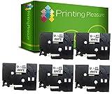 Printing Pleasure 5 x TZe-231 TZ-231 Schwarz auf Weiß, Schriftband kompatibel für BrotherP-Touch | 12mm x 8m