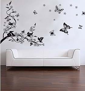 Amovible vinyle Wall Sticker mural Sticker Art - Papillons de danse et de branche d'arbre Stickers Muraux Accueil - Décors Peinture murale d'art de crèche - Accueil amovible Grand Stickers Muraux décalque de décor