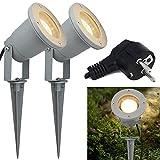 Hengda Spot à LED Jardin GU10 4W COB LED Spot Éclairage extérieur à piquer 2 unités IP65 85–265V Blanc chaud