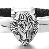 iMETACLII Homme Noir Cuir Tressé Bracelet avec Acier Inoxydable Tête de Lion et Fermoir Magnétique - Masculin
